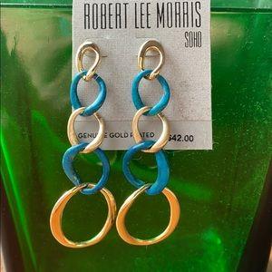 Robert Lee Morris Soho Drop Blue Gold Earrings